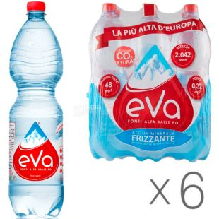 Acqua Eva, 1.5 L, Pack of 6 pcs., Aqua Eva, Mountain water, carbonated, PET