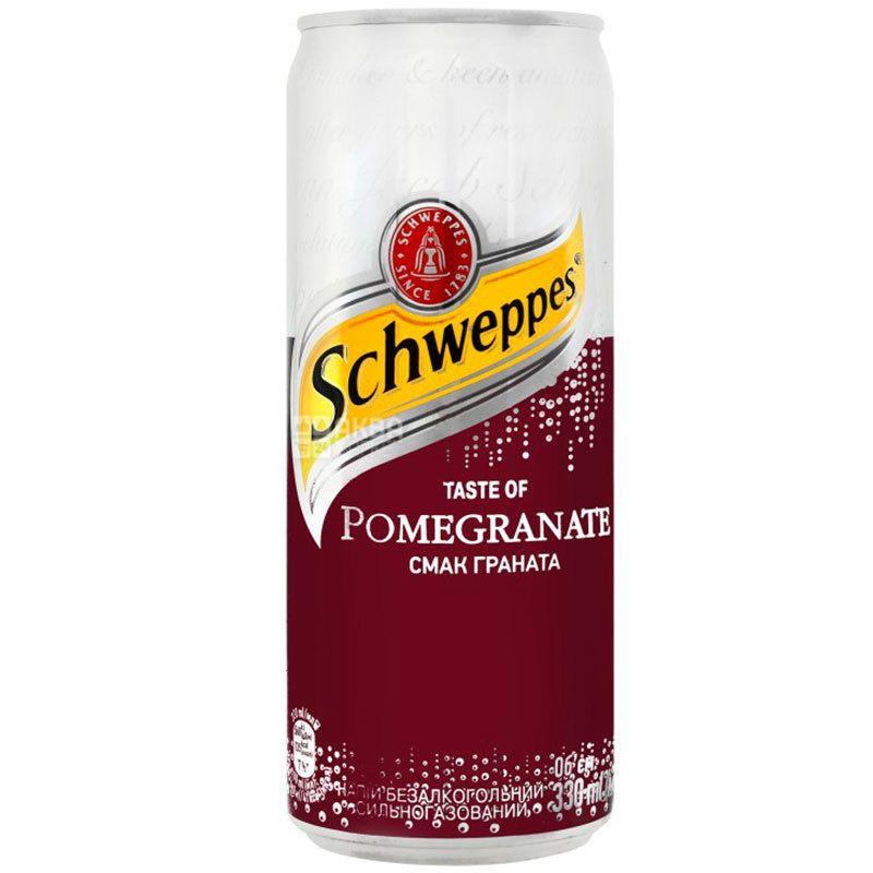 Schweppes, Pomegranate, 0,33 л, Швепс, Гранат, Вода сладкая, ж/б