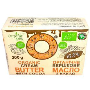 Organic Milk, 200 г, Органик Милк, Масло сливочное с какао, органическое, 62%