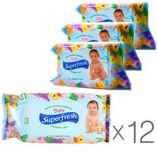 Superfresh, 72 шт., Суперфреш, Серветки вологі для дітей і мам, Упаковка 12 шт.
