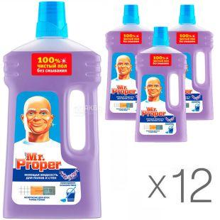 Mr. Proper, 1 л, Упаковка 12 шт., Мистер Пропер Лавандовое спокойствие, Средство для мытья полов и стен