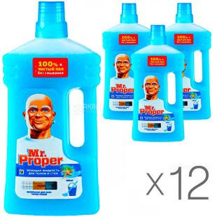 Mr.  Proper, 1 L, Pack of 12 pcs, Mr. Proper Ocean, Floor and wall cleaner
