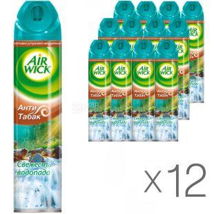 Air Wick, 240 мл, Упаковка 12 шт., Эйр Вик Освежитель воздуха Антитабак Свежесть водопада