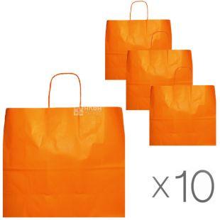 Paper bag, with handles, orange, Pack of 10 pcs., 32x13x28 cm