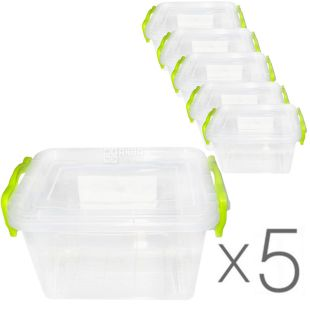 Al-Plastic, 0.8 L, Pack of 5 pcs., Plastic container Lux №2