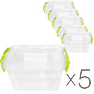 LUX, Контейнер пластиковый №2, 0,8 л, Упаковка 5 шт., 162х112х93 мм