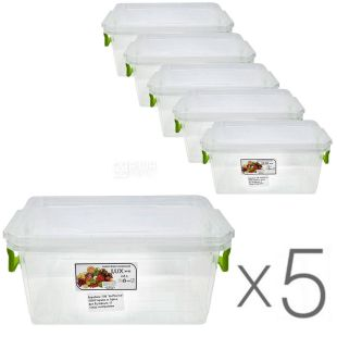 Al-Plastic, 2.8 L, Pack of 5 pcs., Plastic container Lux №5