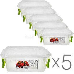 Al-Plastic, 0,5 л, Упаковка 5 шт., Ал-Пластик, Контейнер пластиковий Lux №1