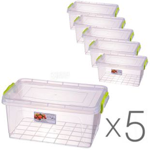 Al-Plastic, 5 л, Упаковка 5 шт., Ал-Пластик, Контейнер пластиковый Lux №6