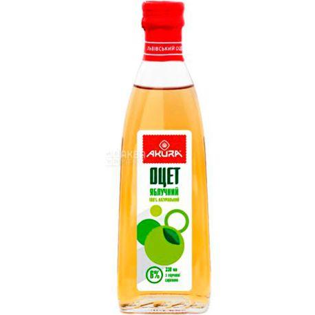 Akura, 330 мл, уксус 6%, Яблочный натуральный, стекло