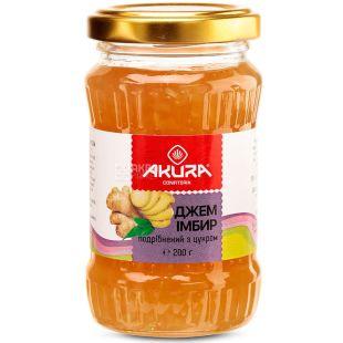 Akura, 200 г, имбирь, Измельченный с сахаром, стекло