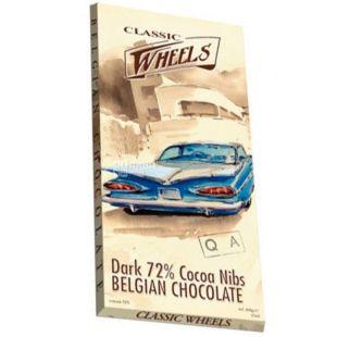 Belgian Chocolate, 100 г, Белджин, Шоколад екстрачорний Classic Wheels, зі шматочками какао-бобів, 72%