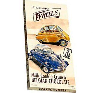 Belgian Chocolate, 100 г, Белджин, Шоколад молочний Classic Wheels, зі шматочками печива