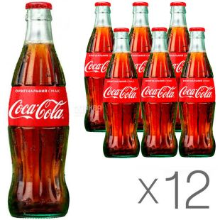 Coca-Cola, pack of 12 pcs. 0.25 l each, sweet water, glass