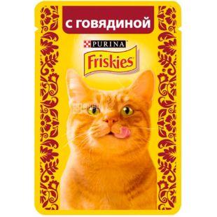 Purina Friskies, 85 г, Пурина Фрискис, Корм для котов, кусочки в желе, с говядиной