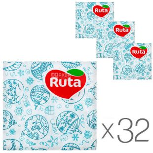 Ruta, 40 L, Pack of 32 pcs, Ruta Paper napkins New Year's mosaic, 24x24 cm