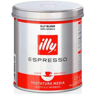 illy, Espresso Classico, 125 г, Кава Іллі, Еспрессо класико, середнього обсмаження, мелена, ж/б