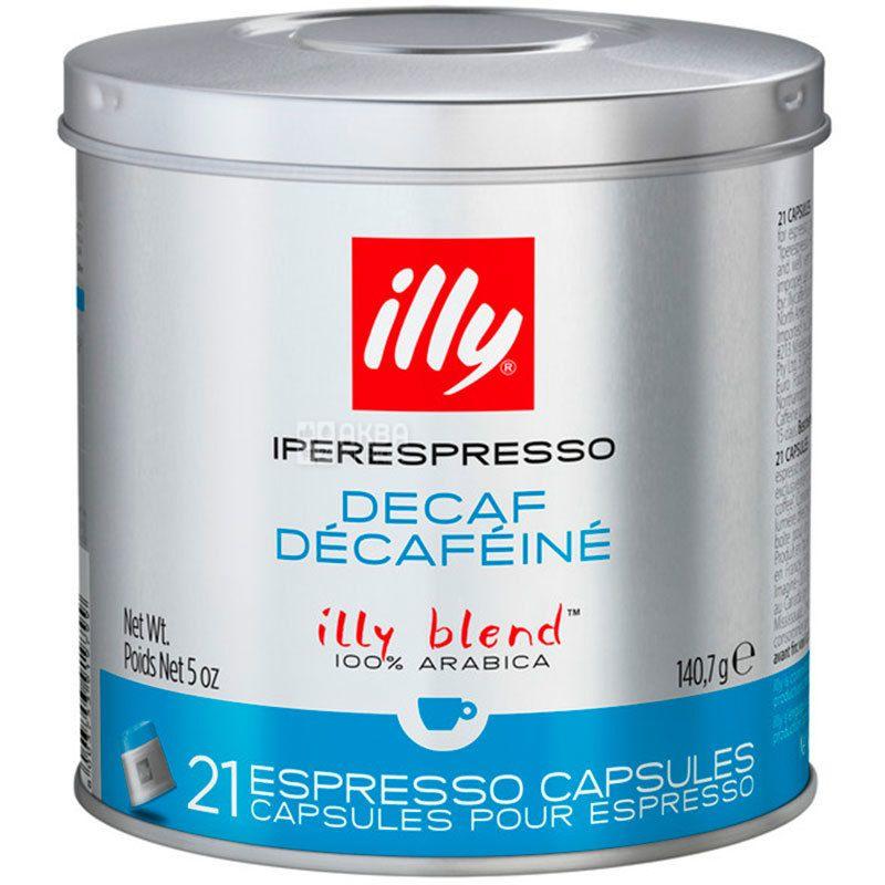 illy, Iperespresso Decaf, 21 x 6,7 г, Кава Іллі, Іпереспресо, без кофеїну, в капсулах, ж/б