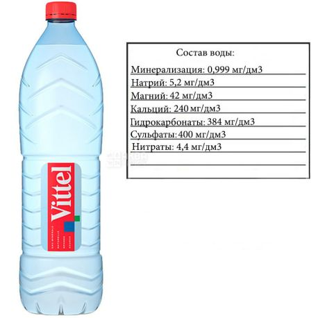 Vittel, 1,5 л, Виттель, Вода минеральная негазированная,  ПЭТ