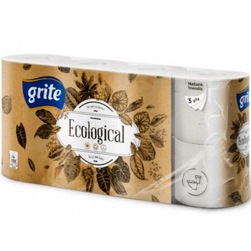 Grite Plius Ecological, 8 рул., Туалетная бумага Грите Плюс Эколоджикал, 3-х слойная