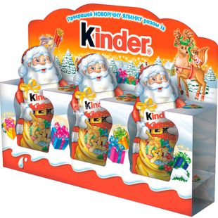 Kinder, 3х15 г, Кіндер, Новорічний набір, Шоколад фігурний, Дід Мороз