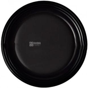 LUX, Тарелка плоская пластиковая, премиум, черная, 240 мм, упаковка 50 шт.