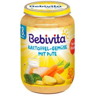 Bebivita, 220 г, Бебивита, Овоще-мясное пюре, Картофель и овощи с индейкой, с 8-ми месяцев