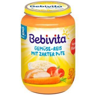 Bebivita, 220 г, Бебивита, Пюре, Рис и овощи с индейкой, с 8-ми месяцев