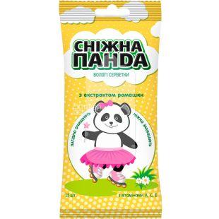 Снежная Панда, Kids, 15 шт., Салфетки влажные детские, Ромашка