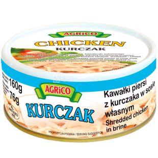 Agrico, Filet kurchaka, Куриное филе в собственном соку, спортивное питание, 160 г
