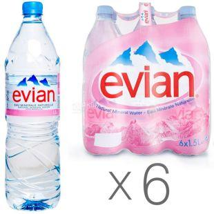 Evian, 1,5 л, Упаковка 6 шт., Эвиан, Вода негазированная, ПЭТ