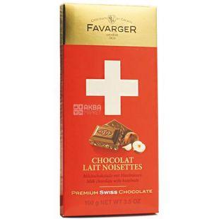 Favarger, Chocolate Lait Noisettes, 100 г, Шоколад Фаваргер, Молочний з карамеллю і фундуком