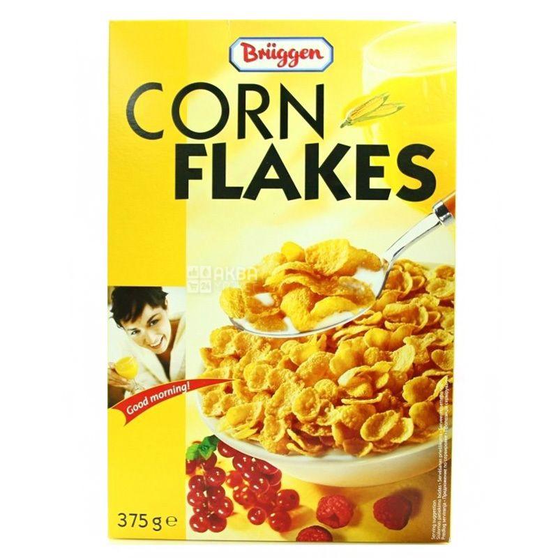 Bruggen, Corn Flakes, 375 г, Хлопья Брюгген, кукурузные, с медом и ягодами