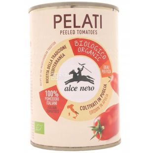 Alce Nero, Pelati, 400 г, Альче Неро, Томаты очищенные Пелати, в томатном соку