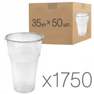 Промтус, 500 мл, 50 шт., Стакан пластиковий  прозорий пивний, Упаковка 35 шт.