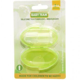 Baby Team, Зубна щітка-масажер Бебі Тім, у футлярі, силікон, в асортименті, з 4-х місяців