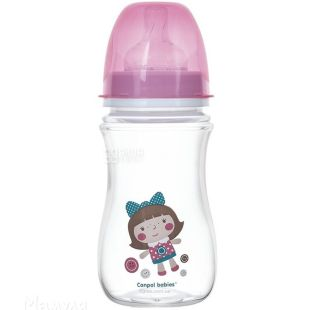 Canpol Babies, EasyStart, 240 мл, Канпол, Антиколікова пляшечка, з широким отвором, рожева