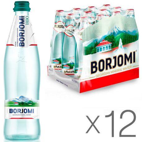 Borjomi, 0,5 л, Упаковка 12 шт., Боржоми, Вода минеральная сильногазированная, стекло