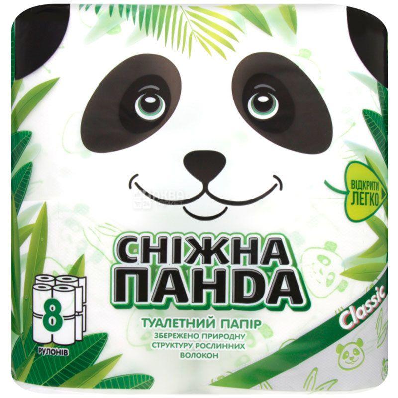 Снежная Панда, Classic, 8 рул., Туалетная бумага, Классик, 2-х слойная