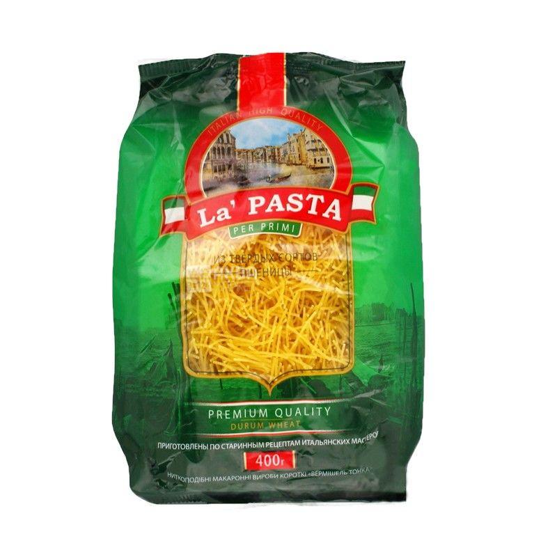 La Pasta, 400 г, Макароны Ла Паста Вермишель тонкая