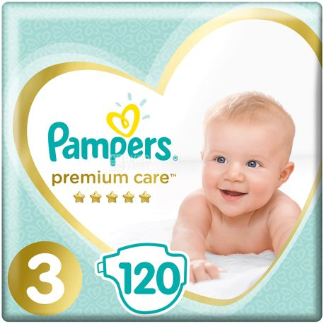 Pampers Premium Care, 120 шт., Памперс, Подгузники, Размер 3, 6-10 кг