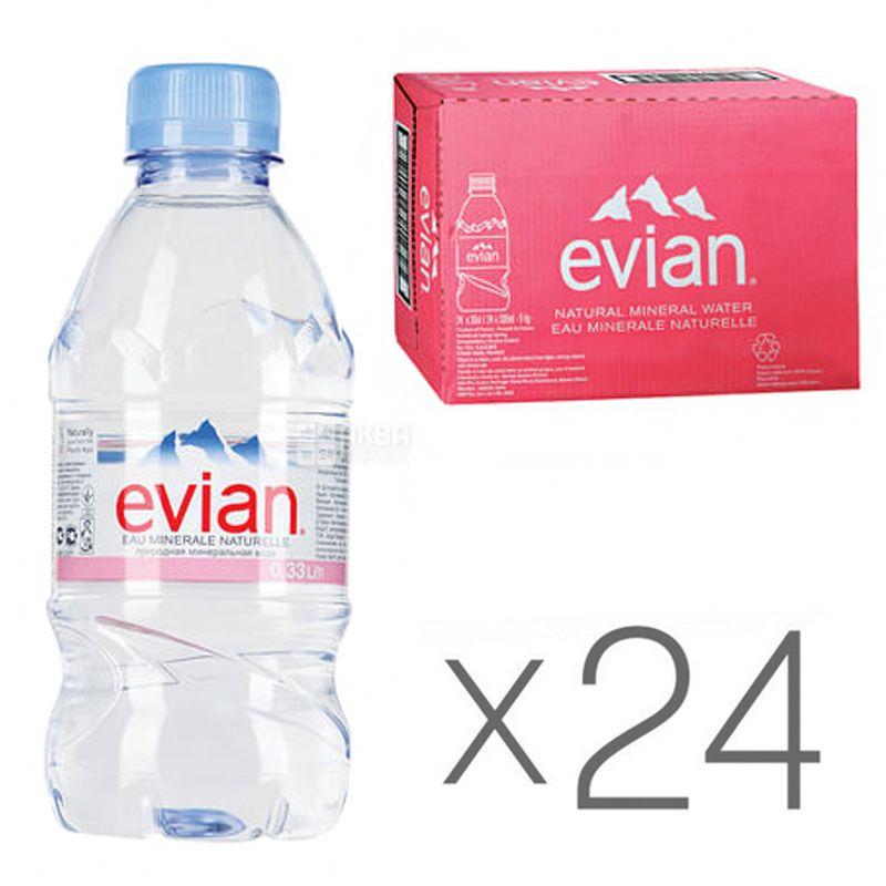 Evian, 0,33 л, Упаковка 24 шт., Евіан, Вода негазована, ПЕТ