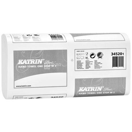 Katrin Plus,145 аркушів, Паперові рушники Катрін, 2-шарові, Z-складання, білі, 25х24 см