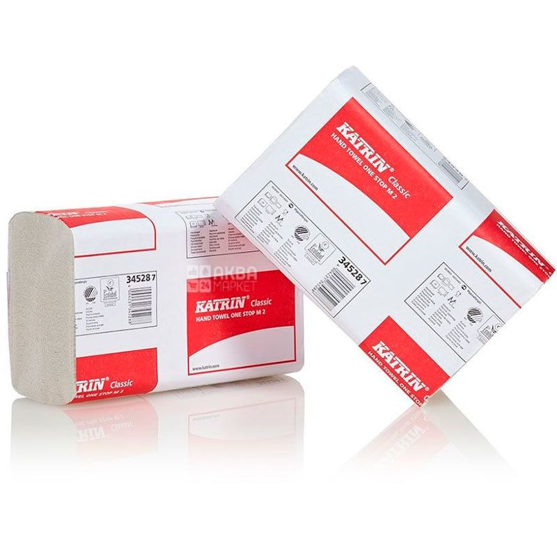 Katrin, Classic, 160 листов, Бумажные полотенца Катрин, 2-х слойные W-сложения, серые, 25х20 см
