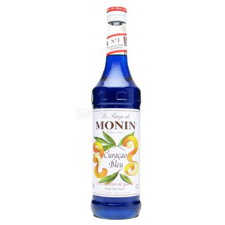 Monin Bleu Curacao, Syrop Blue Curacao, 0.7 l, glass