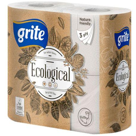 Grite Plius Ecological, 4 рул., Туалетная бумага Грите Плюс Эколоджикал, 3-х слойная