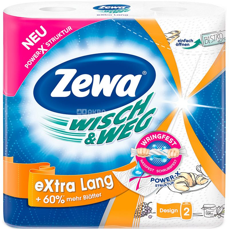 Zewa Wisch & Weg Decor, 2 рул., Бумажные полотенца Зева Декор, 2-х слойные, 72 отрыва, 17.5 м