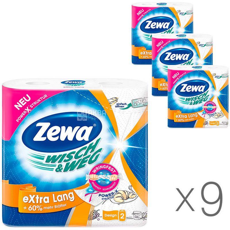 Zewa Wisch & Weg Decor, 9 упаковок по 2 рул., Бумажные полотенца Зева Декор, 2-х слойные, 17 м, 72 листа, 23х12 см