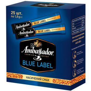 Ambassador, Blue Label, Instant coffee, in sticks, pack of 25 x 1.8 g