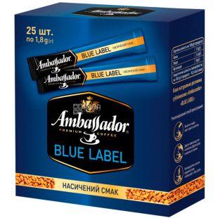 Ambassador, Blue Label, Кава розчинна, у стіках, упаковка 25 шт. х 1,8 г